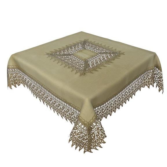 Obrus gipiura haft złoty prostokąt 130-160